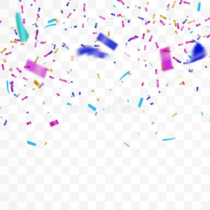 Het realistische Vallen van glanzende confettien schittert in kleurrijk Vakantieontwerp op een transparante achtergrond stock illustratie