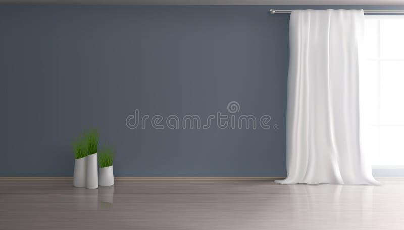 Het realistische vector lege binnenland van de huiswoonkamer royalty-vrije illustratie