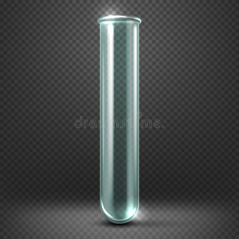 Het realistische vector lege malplaatje van de glasreageerbuis dat op transparante geruite achtergrond wordt geïsoleerd stock illustratie