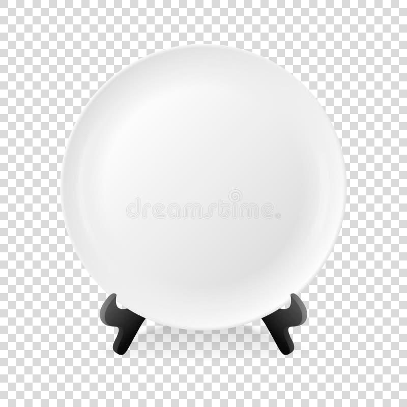 Het realistische vector witte pictogram van de voedsel lege die plaat op een tribuneclose-up op de achtergrond van het transparan vector illustratie