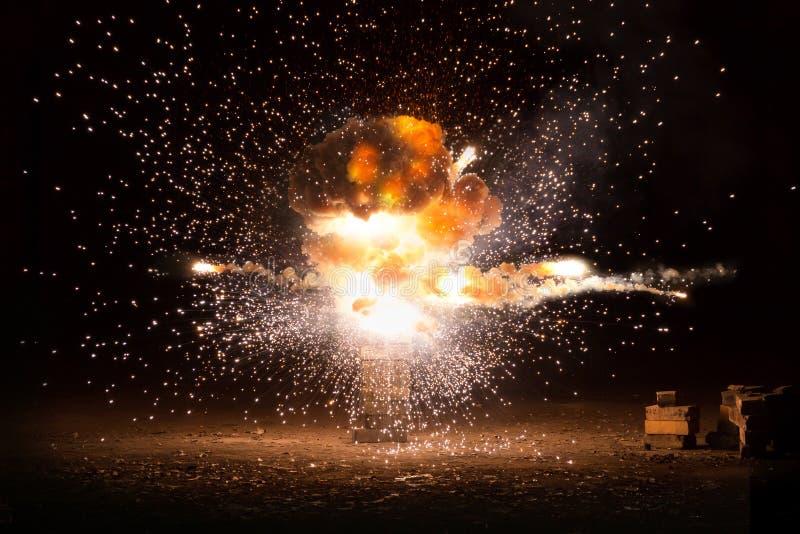 Het realistische vurige explosie busting royalty-vrije stock foto