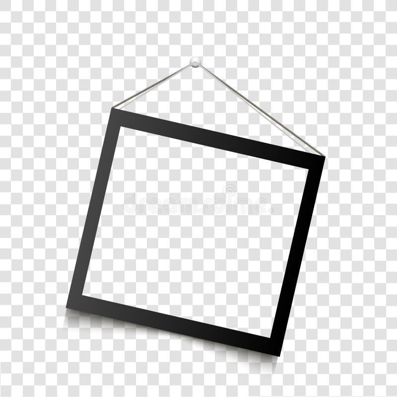 Het realistische zwarte kader hangen op de muur Vector illustratie vector illustratie