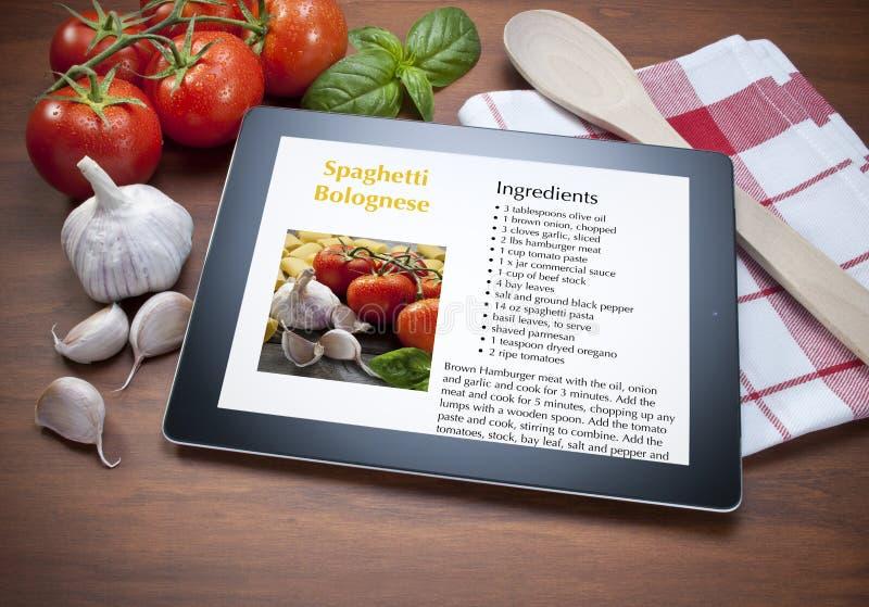 Het Recept van het Voedsel van de Spaghetti van de tablet stock afbeeldingen