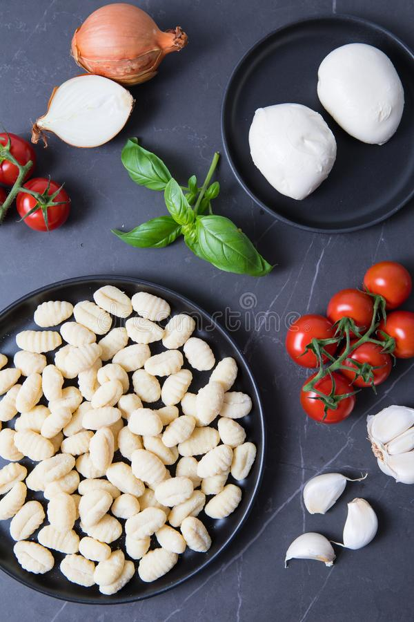 Het Recept van mozarellagnocchi stock fotografie