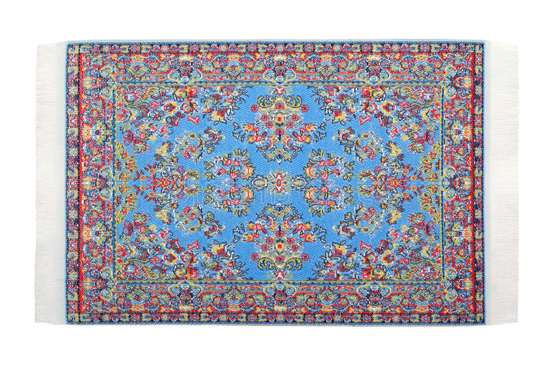Het rechthoekige blauwe tapijt ligt horizontaal royalty-vrije stock fotografie