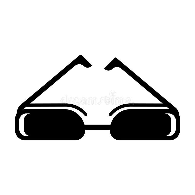 Het rechthoekige vectordieteken en het symbool van het oogglazenpictogram op witte achtergrond, het Rechthoekige concept van het  royalty-vrije illustratie