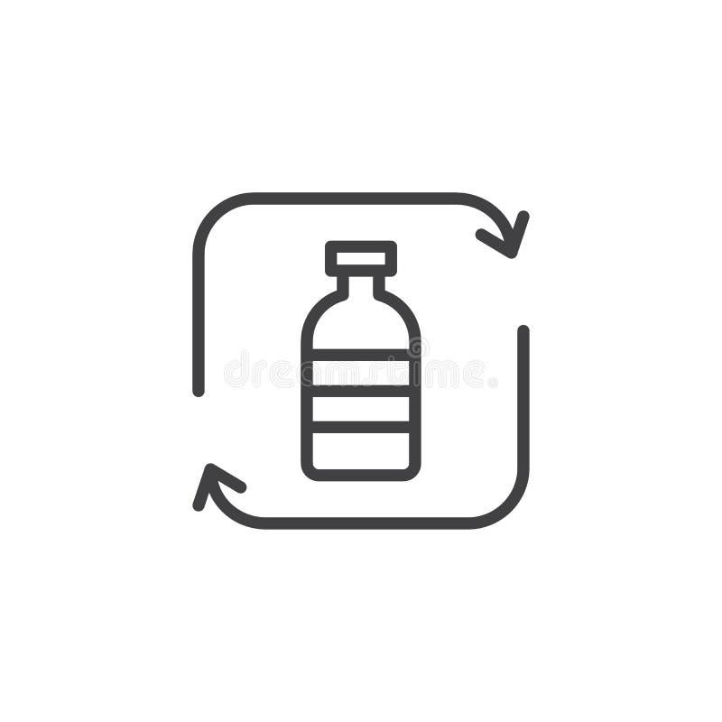 Het recyclerende plastic pictogram van het flessenoverzicht vector illustratie