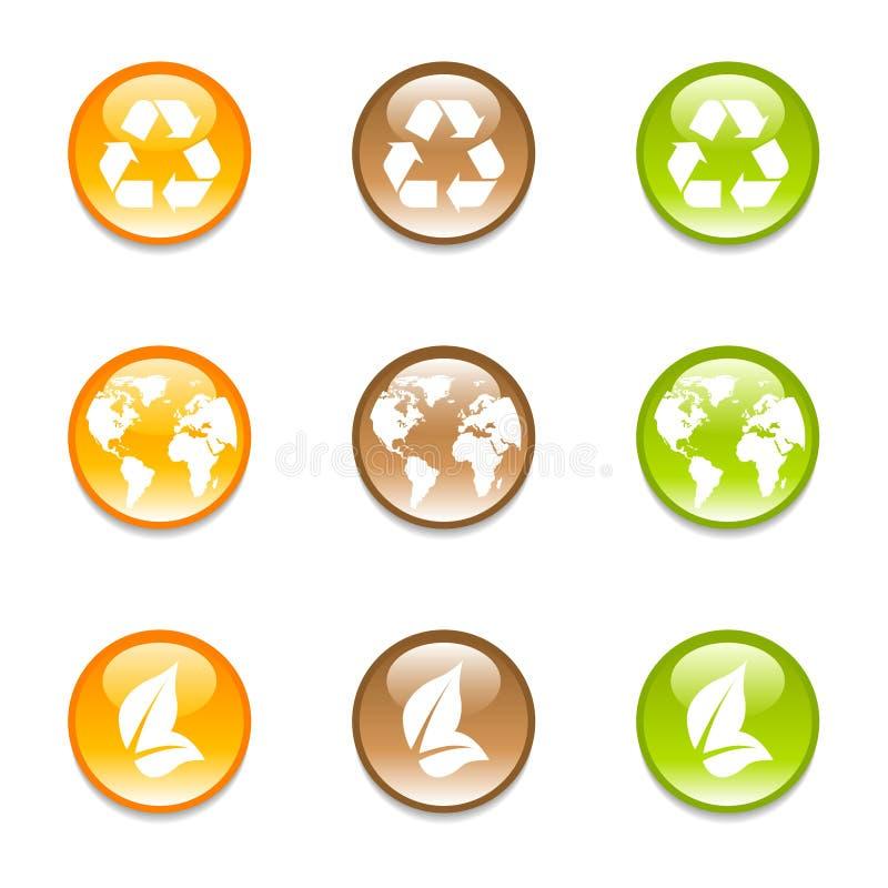 Het recycling van aardepictogrammen in 3 kleuren stock illustratie