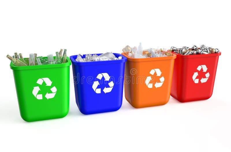 Het recycling van containers met afval vector illustratie