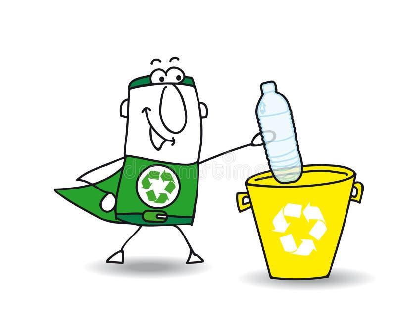 Het recycling van een plastic fles met Joe vector illustratie