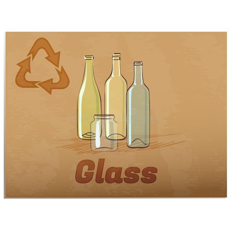 Het recycling van glasmemorandum royalty-vrije illustratie