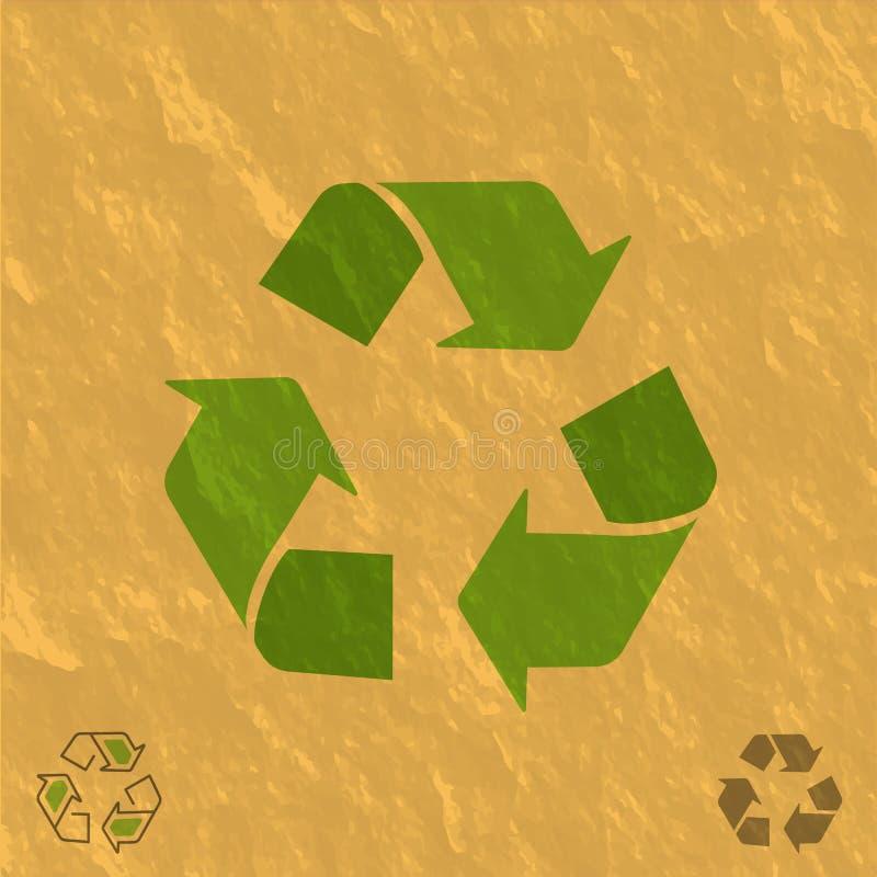 Het recycling van transparant symbool op ambacht-papier textuur vectorillustratie royalty-vrije illustratie