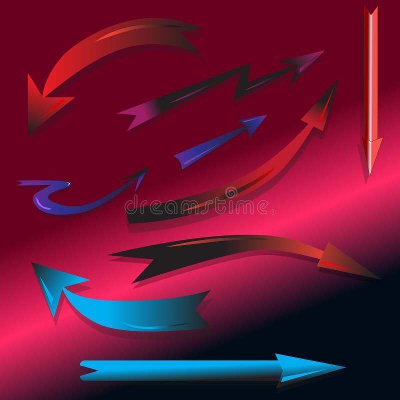 Het reeks-ontwerp-pijl-wijzer-aan-uw-werk vector illustratie