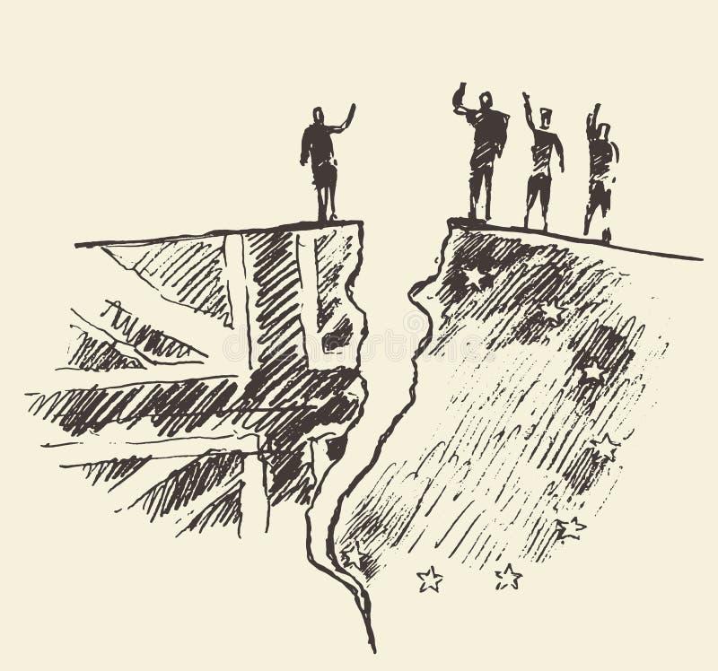 Het referendum vectorillustratie van de EU van schetsbrexit het UK royalty-vrije illustratie