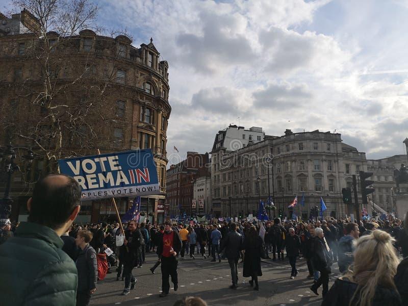 Het referendumdemonstratie maart van Londen Brexit royalty-vrije stock foto's