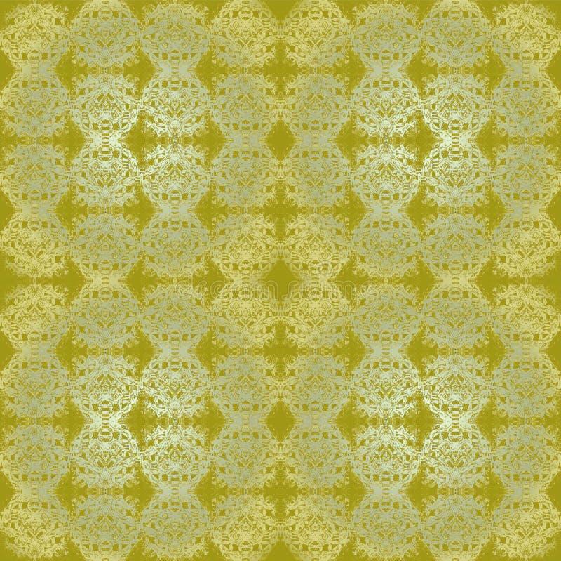 Het regelmatige ronde ornamenten gouden en zilveren flikkeren op groene olijf vector illustratie