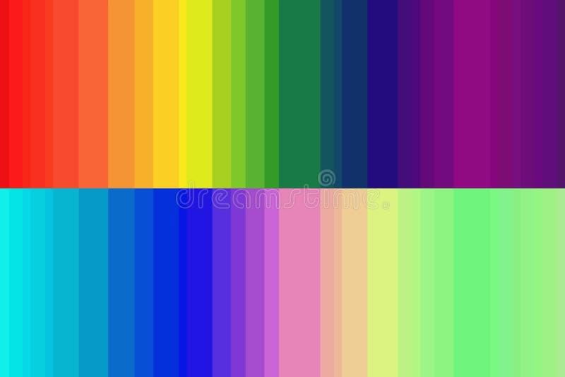 Het regenboogspectrum wordt gegrenst door het omgekeerde spectrum stock illustratie