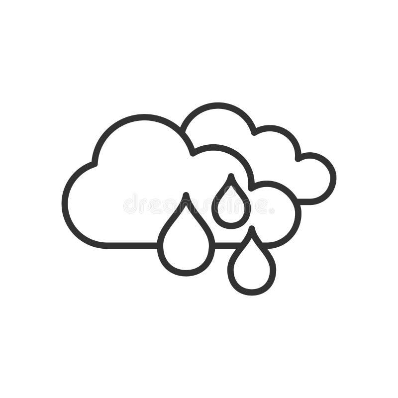 Het regenende Vlakke Pictogram van het Dagoverzicht op Wit vector illustratie
