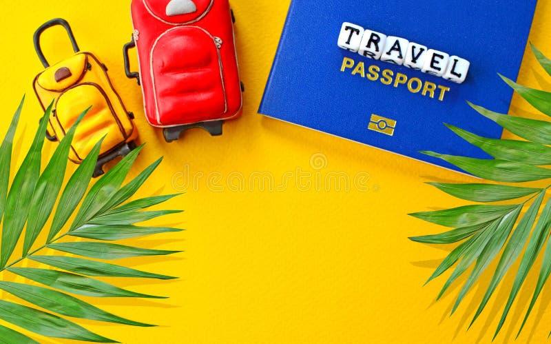 Het reisconcept met biometrisch internationaal paspoort, palm doorbladert, miniatuurbagage royalty-vrije stock foto