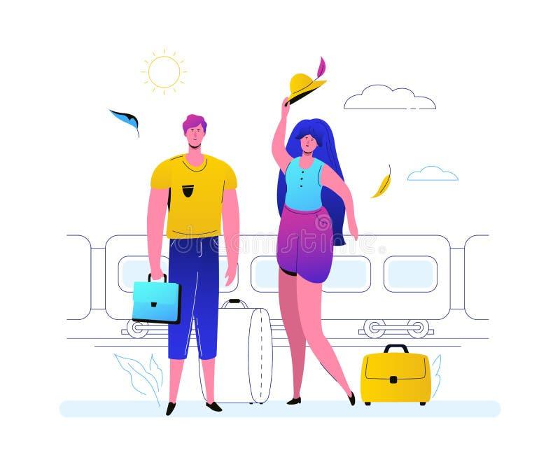 Het reizen door trein - de kleurrijke vlakke illustratie van de ontwerpstijl vector illustratie