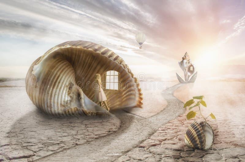 Het reizen in een droom stock illustratie