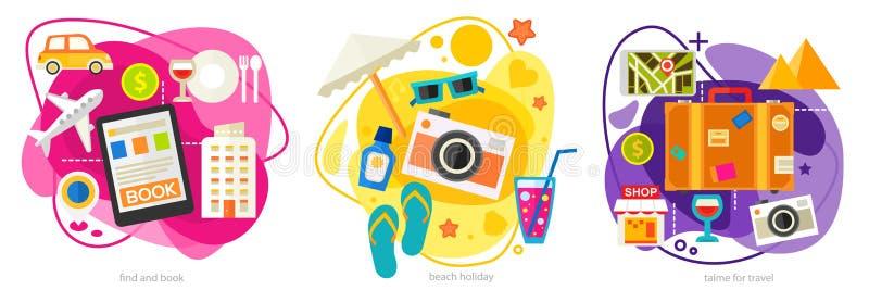 Het reizen en Toerismeconceptenbanners Vector illustratie stock illustratie
