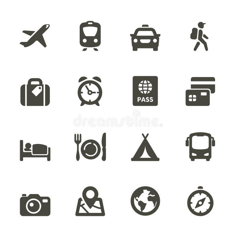 Het reizen en vervoerpictogrammen.