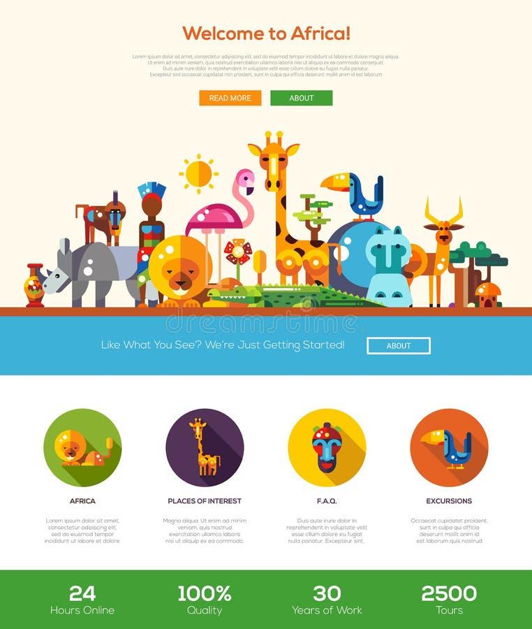 Het reizen naar de banner van de de websitekopbal van Afrika met webdesignelementen
