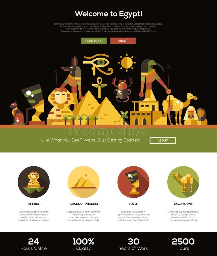 Het reizen naar de banner van de de websitekopbal van Egypte met webdesignelementen