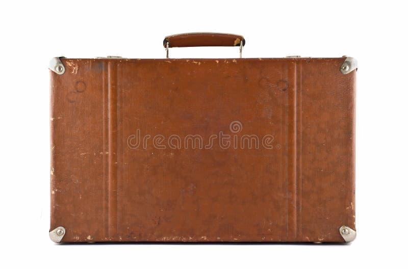Het reizen - ouderwetse geïsoleerde koffer stock afbeeldingen