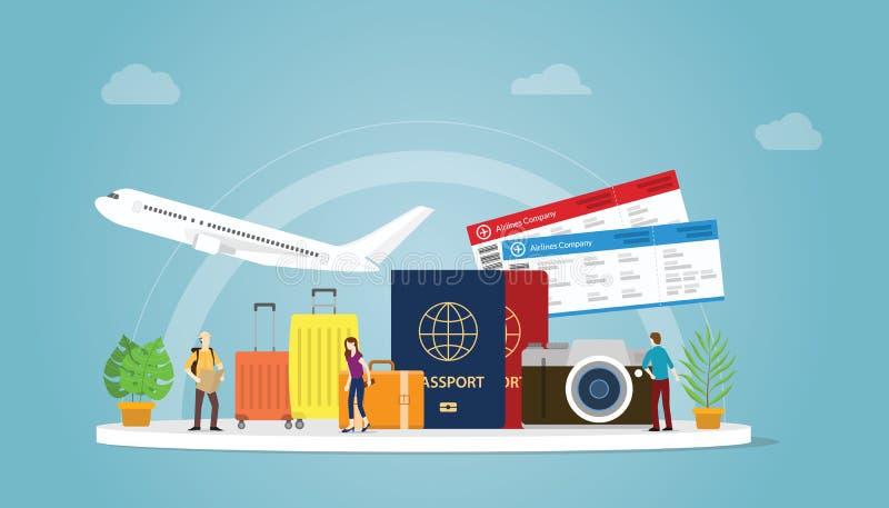 Het reizen of reisvakantieconcept met toerist en vliegtuig met paspoort en kaartje met moderne vlakke stijl - vector royalty-vrije illustratie