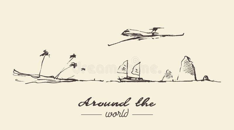 Het reizen rond de getrokken schets van het wereldconcept hand vector illustratie