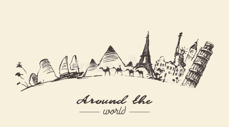 Het reizen rond getrokken de illustratie van het wereldconcept stock illustratie