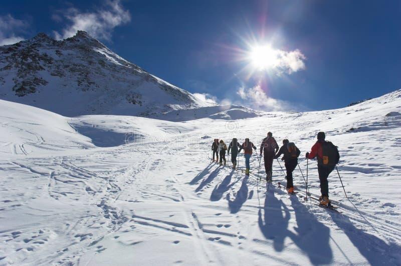 Het reizen van de ski stock afbeeldingen