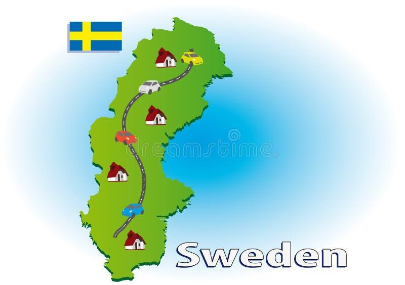 Het reizen in Zweden vector illustratie