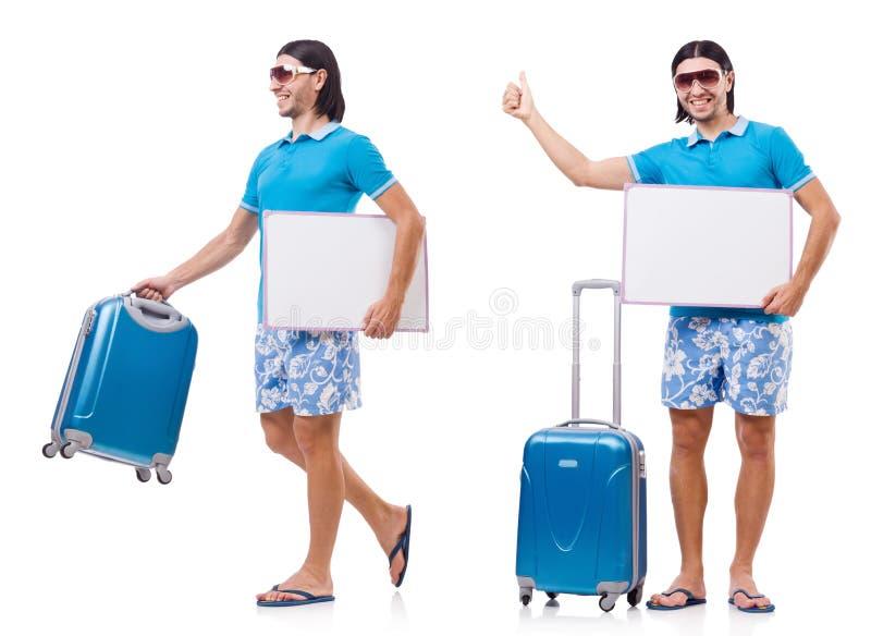 Het reizende die toerismeconcept op wit wordt geïsoleerd stock afbeelding