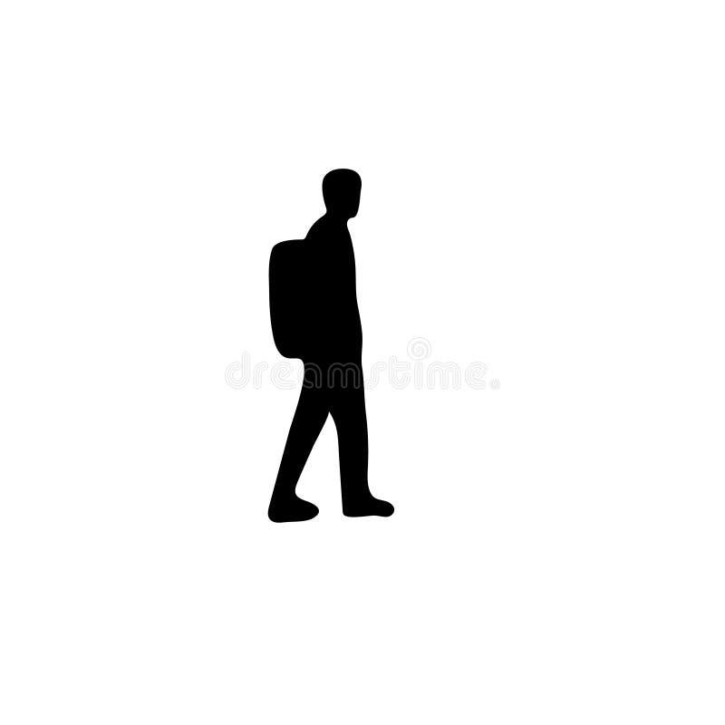 Het reizende pictogram van het mensensilhouet jong geitje, jongen, tiener zakzak, het bewegen zich, Eenvoudige Vlakke monochrom royalty-vrije illustratie