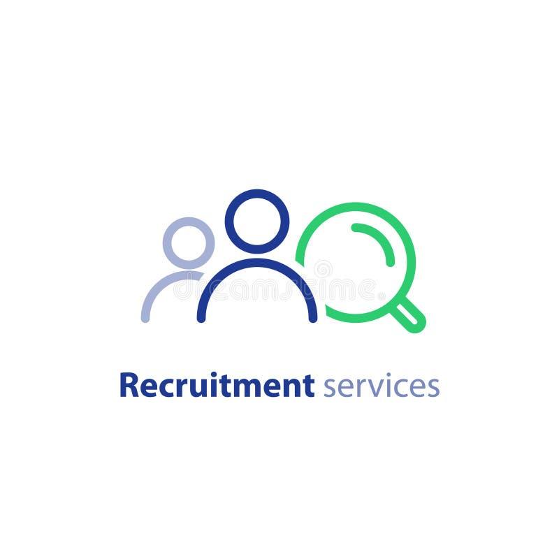Het rekruteringsonderzoek, de personeelsdiensten, hurende werknemer, vindt baan, vult vacatureconcept, vectorpictogram vector illustratie