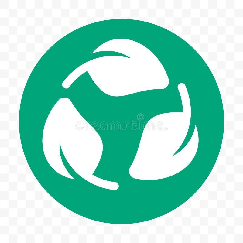 Het rekupereerbare plastic vrije malplaatje van het pakketpictogram Vector Biologisch afbreekbaar groen bladetiket royalty-vrije illustratie