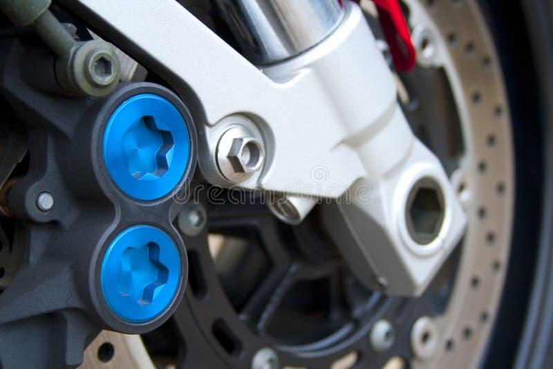 Het remmende systeem van de motorfiets stock foto