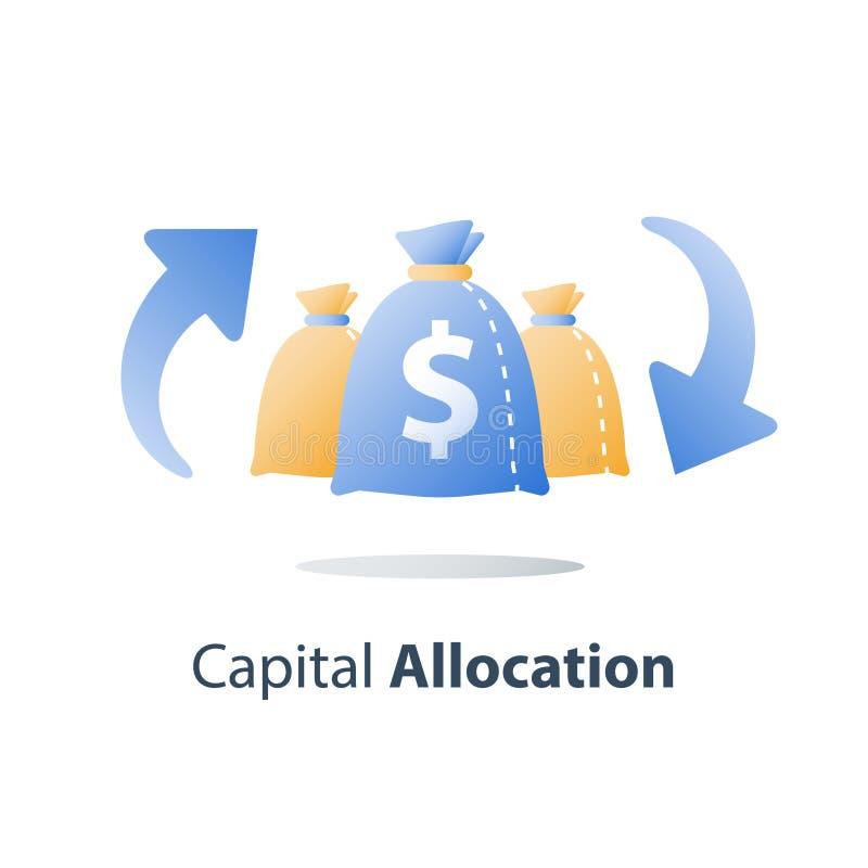 Het rendement van investering, investeert fonds, de financiële diensten, snelle contant geldlening, gemakkelijk geld, begroting p stock illustratie
