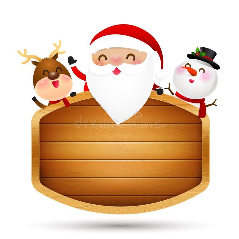 Het rendier en de sneeuwman van de Kerstmiskerstman bij houten sig wordt neergestreken die vector illustratie