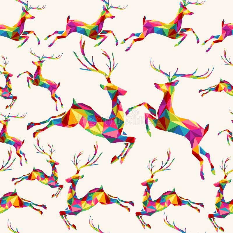 Het rendier naadloos patroon van de Kerstmis kleurrijk driehoek vector illustratie