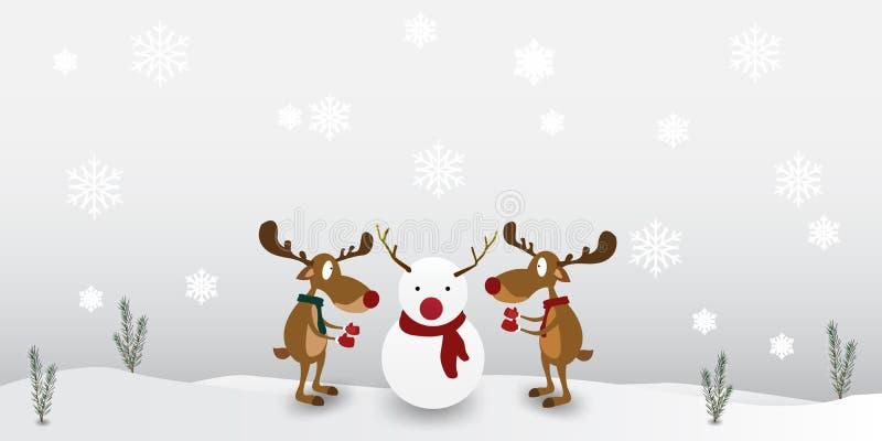 Het rendier van het karakterbeeldverhaal Leuk op de achtergrond van de de wintersneeuwvlok Groetkaart voor Vrolijke Kerstmis royalty-vrije illustratie