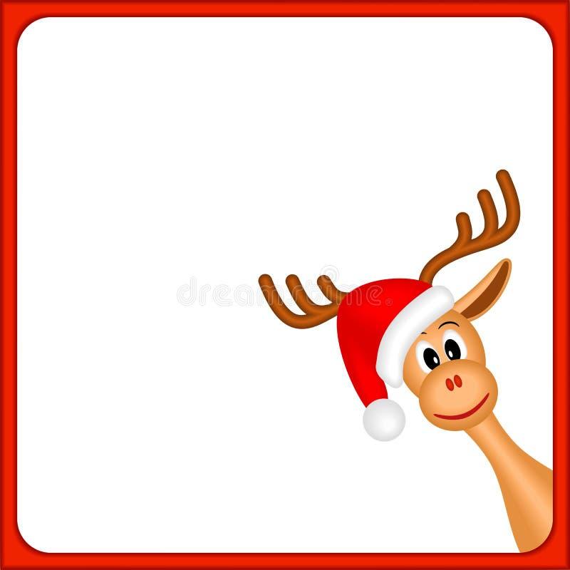 Het rendier van Kerstmis in leeg frame met rode grens vector illustratie