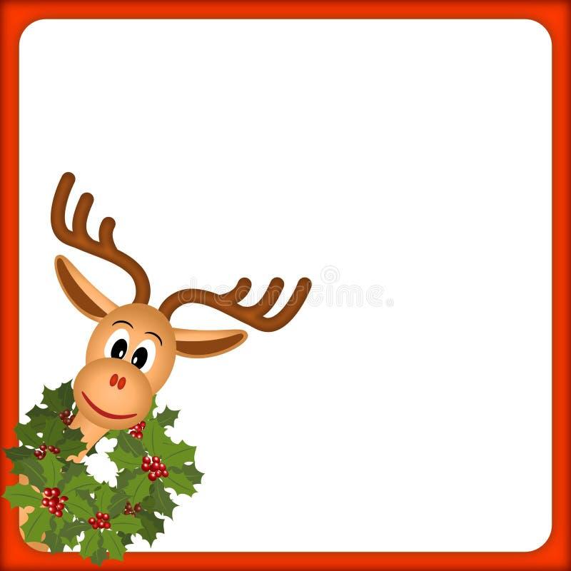 Het rendier van Kerstmis met groene kroon royalty-vrije illustratie