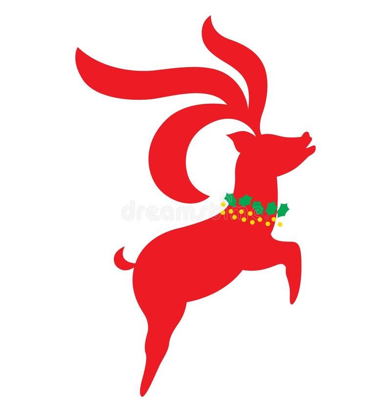 Het rendiersprong van Kerstmis omhoog vector illustratie