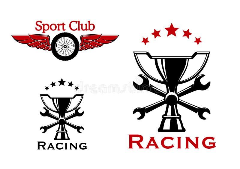 Het rennen en motorsport symbolen of pictogrammen royalty-vrije illustratie