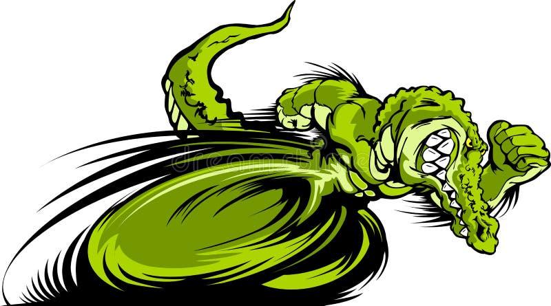 Het rennen het Grafische Beeld van de Mascotte Gator of Croc stock illustratie