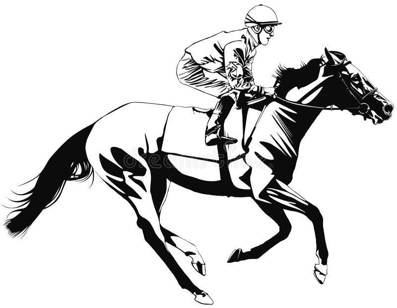 Het rennen paard en jockey vector illustratie